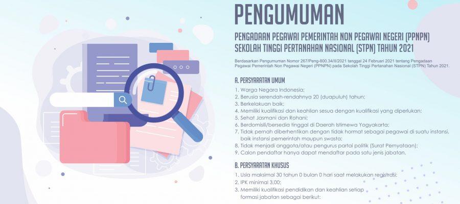 Pengumuman Pengadaan Pegawai Pemerintah Non Pegawai Negeri (PPNPN) Sekolah Tinggi Pertanahan Nasional (STPN) Tahun 2021